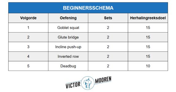 trainingsschema beginner