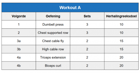 trainingsschema template